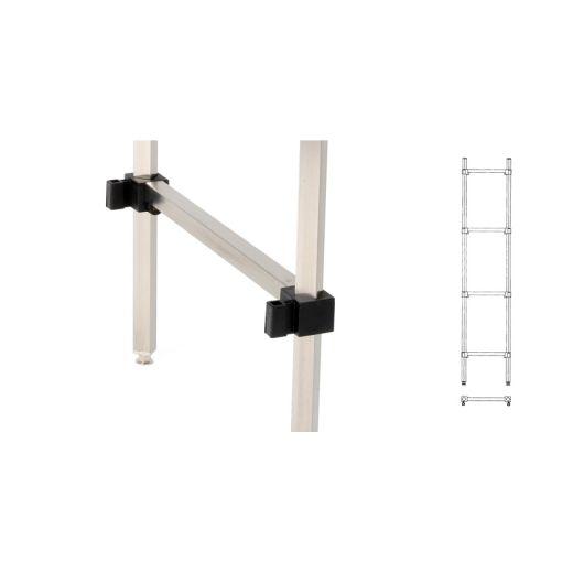 Edelstahl Regalständer außen - 4 Ebenen - Tiefe 600 mm - Höhe 1825 mm